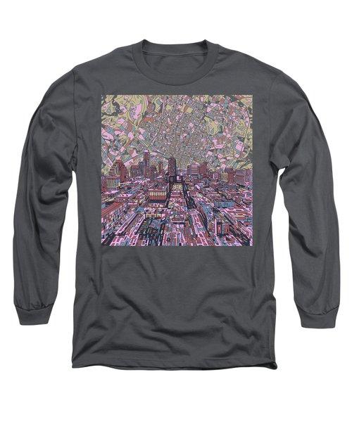 Austin Texas Vintage Panorama 2 Long Sleeve T-Shirt by Bekim Art