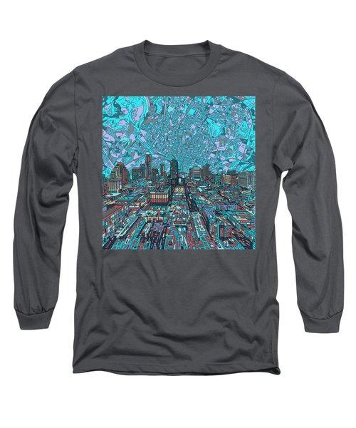 Austin Texas Vintage Panorama 4 Long Sleeve T-Shirt by Bekim Art