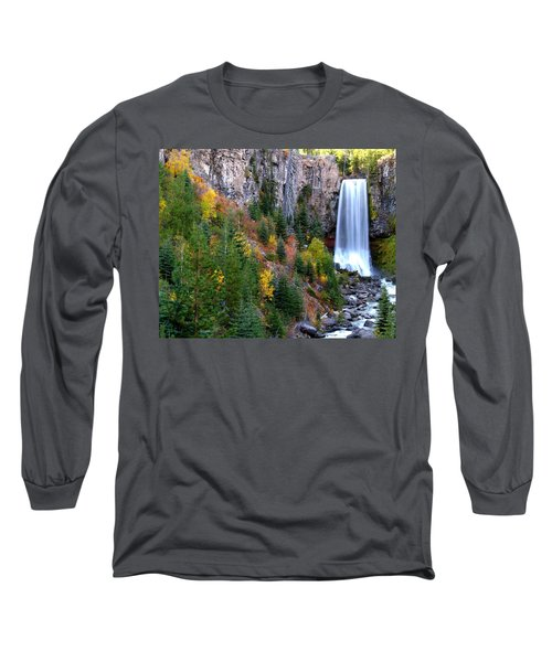 Autumn Colors Surround Tumalo Falls Long Sleeve T-Shirt by Kevin Desrosiers