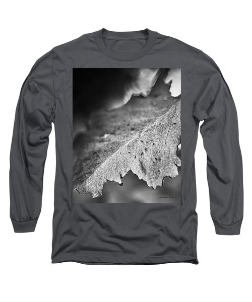 Autumn Leaves B And W Long Sleeve T-Shirt