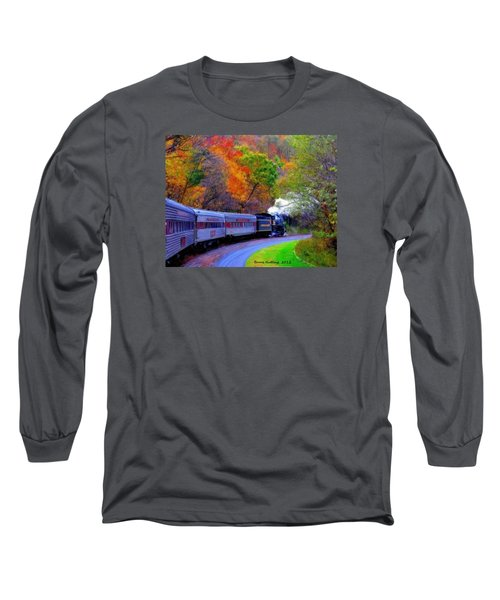 Long Sleeve T-Shirt featuring the painting Autumn Train by Bruce Nutting