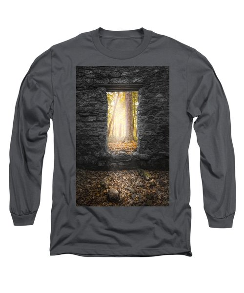 Long Sleeve T-Shirt featuring the photograph Autumn Within Long Pond Ironworks - Historical Ruins by Gary Heller