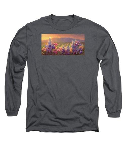 Awakening - Mt Susitna Spring - Sleeping Lady Long Sleeve T-Shirt by Karen Whitworth