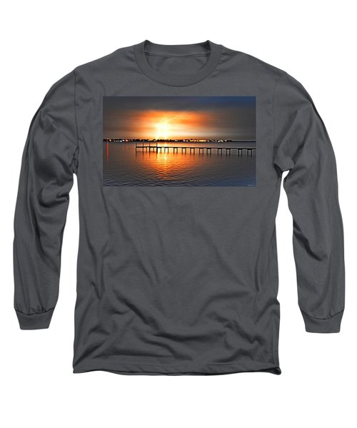 Long Sleeve T-Shirt featuring the photograph Awesome Lightning Electrical Storm On Sound by Jeff at JSJ Photography