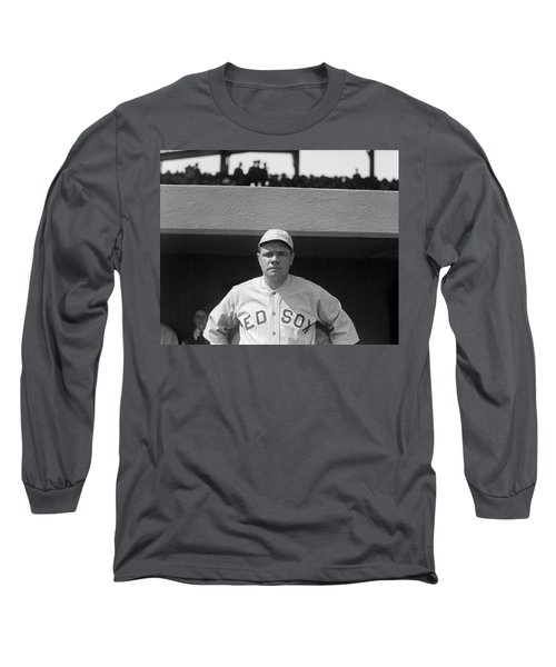 Babe Ruth In Red Sox Uniform Long Sleeve T-Shirt by Underwood Archives