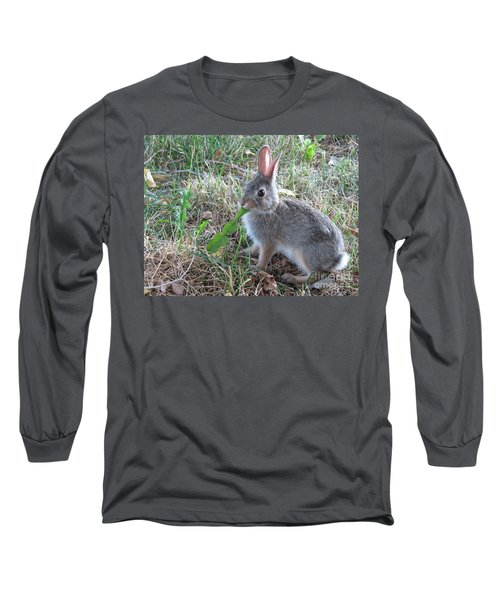 Baby Bunny Eating Dandelion #01 Long Sleeve T-Shirt