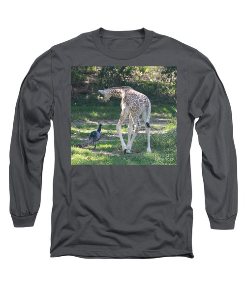 Baby Giraffe And Peacock Out For A Walk Long Sleeve T-Shirt by John Telfer