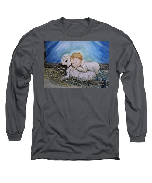 Baby Jesus Little Lamb Long Sleeve T-Shirt by Nava Thompson