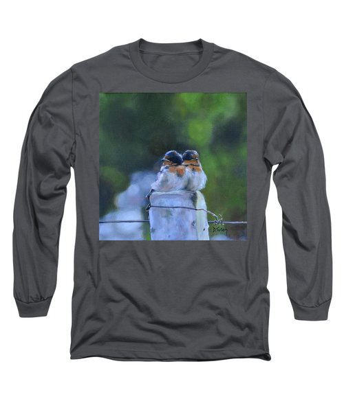 Baby Swallows On Post Long Sleeve T-Shirt