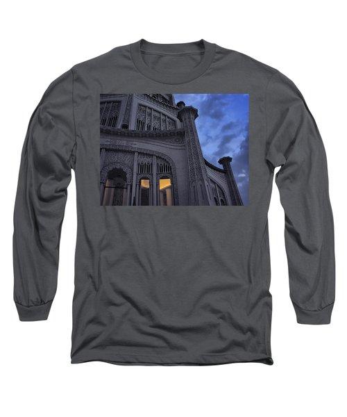 Long Sleeve T-Shirt featuring the photograph Bahai Temple Detail At Dusk by John Hansen