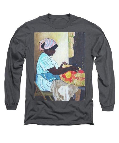 Bahamian Woman Weaving Long Sleeve T-Shirt
