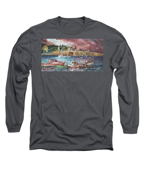 Long Sleeve T-Shirt featuring the painting Bailey Island Cribstone Bridge by Joy Nichols