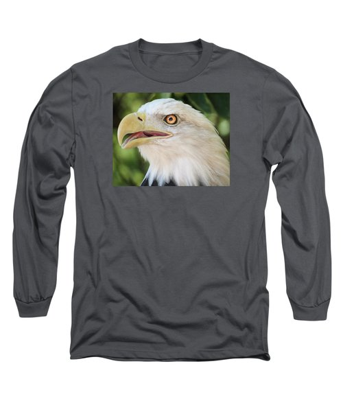 American Bald Eagle Portrait - Bright Eye Long Sleeve T-Shirt by Patti Deters