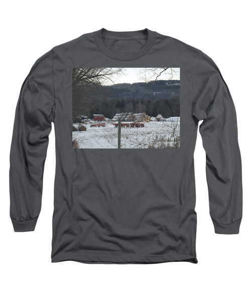 Long Sleeve T-Shirt featuring the photograph Bales Of Hay by Brenda Brown