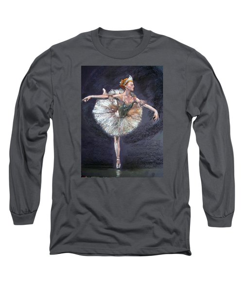 Long Sleeve T-Shirt featuring the painting Ballet by Jieming Wang