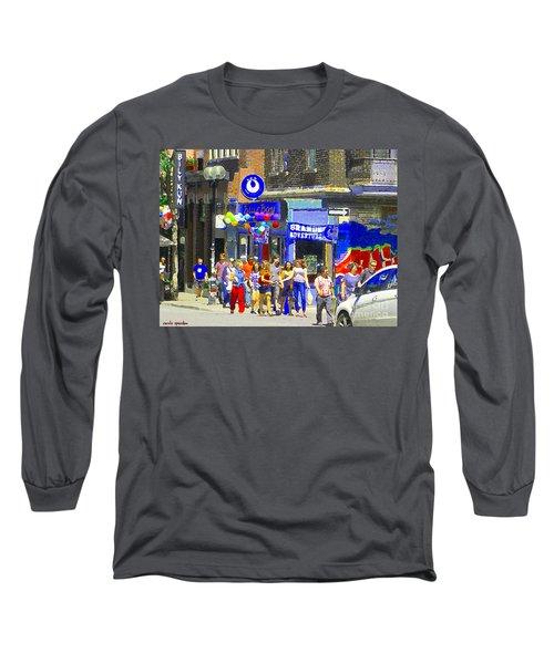 Bar Bily Kun Tavern Chic Rue Mont Royal Blue Boy Fro Yo Cafe Scene Colorful Montreal Art C Spandau  Long Sleeve T-Shirt