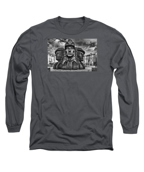 Bargoed Miners 2 Mono Long Sleeve T-Shirt by Steve Purnell