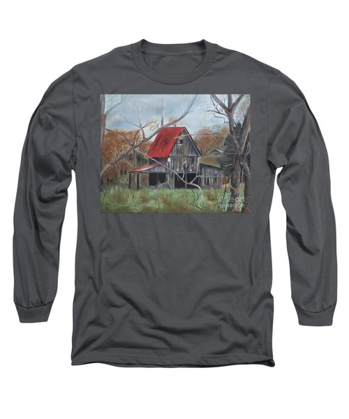 Long Sleeve T-Shirt featuring the painting Barn - Red Roof - Autumn by Jan Dappen