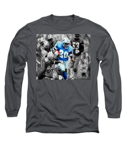 Barry Sanders Breaking Out Long Sleeve T-Shirt by Brian Reaves