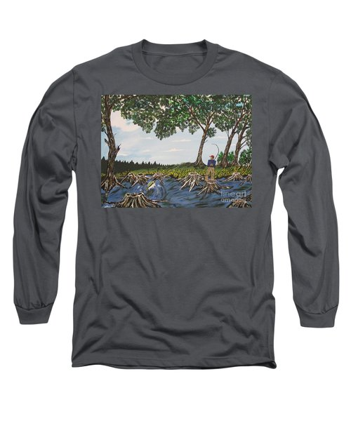 Bass Fishing In The Stumps Long Sleeve T-Shirt by Jeffrey Koss
