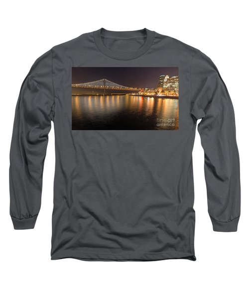 Long Sleeve T-Shirt featuring the photograph Bay Bridge Lights And City by Kate Brown