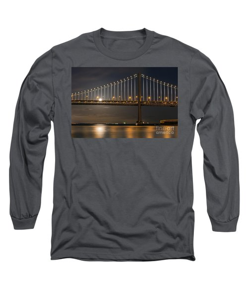 Long Sleeve T-Shirt featuring the photograph Bay Bridge Moon Rising by Kate Brown