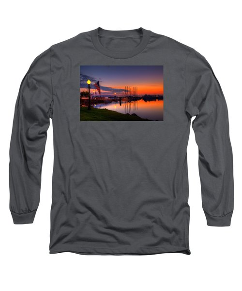 Bayfield Wisconsin Fire In The Sky Over The Harbor Long Sleeve T-Shirt