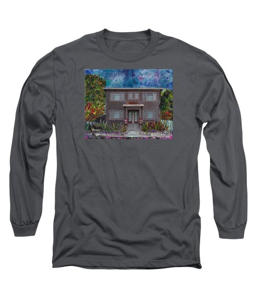 Long Sleeve T-Shirt featuring the mixed media Alameda Bayview 1926 - Colonial Revival by Linda Weinstock