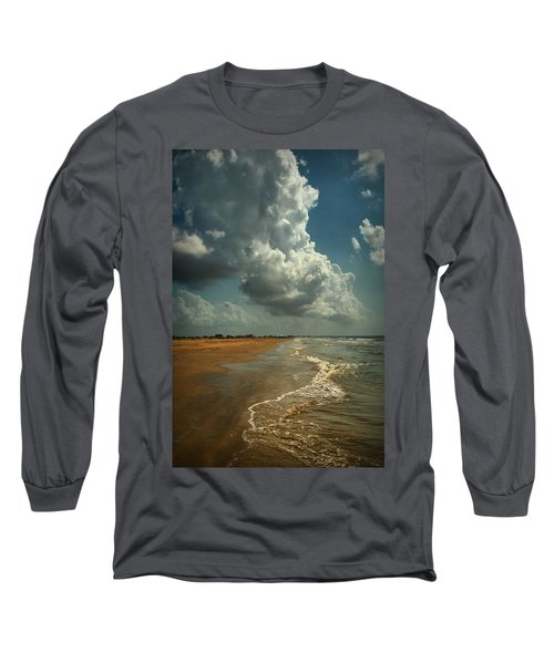 Beach And Clouds Long Sleeve T-Shirt by Linda Unger