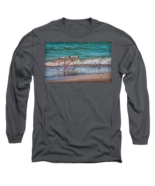 Beach Jogging In Twos Long Sleeve T-Shirt by Hanny Heim