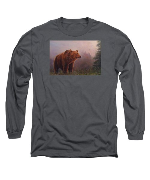 Long Sleeve T-Shirt featuring the painting Bear In The Mist by Donna Tucker