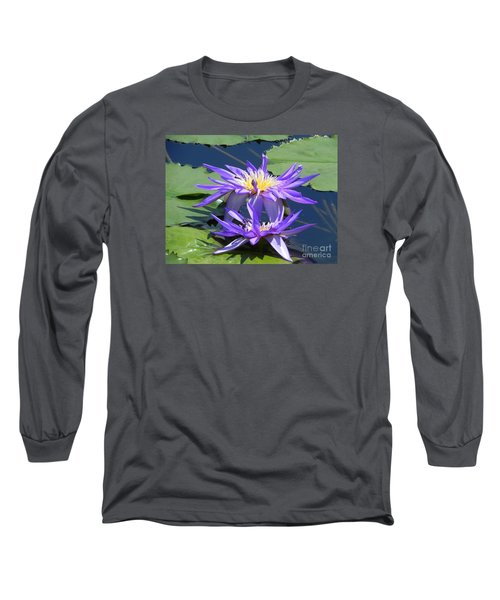 Long Sleeve T-Shirt featuring the photograph Beautiful Purple Lilies by Chrisann Ellis