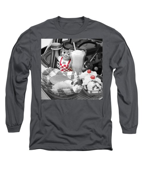 Big Boy In Black And White Long Sleeve T-Shirt by Sonya Lang