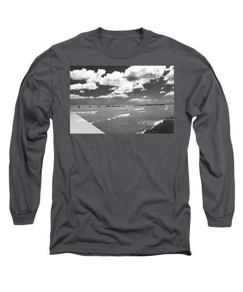 Big Lake Clouds Black White Long Sleeve T-Shirt