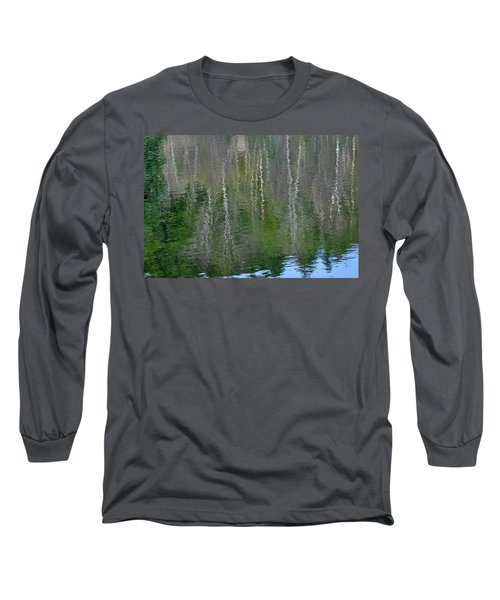 Birch Trees Reflected In Pond Long Sleeve T-Shirt