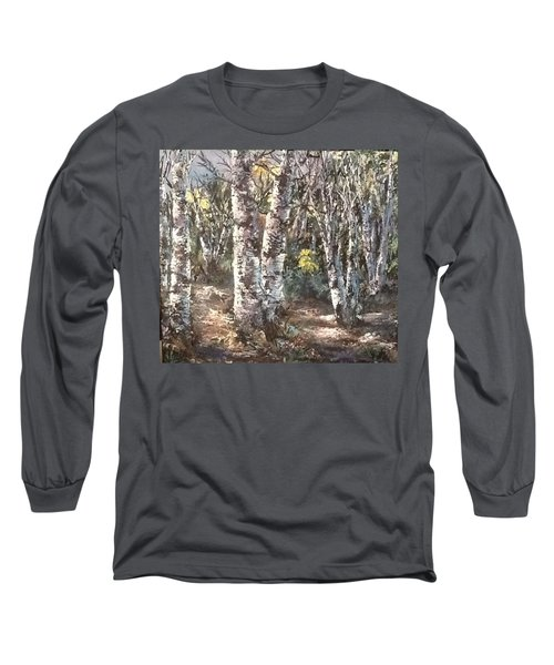 Long Sleeve T-Shirt featuring the painting Birches by Megan Walsh