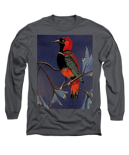 Long Sleeve T-Shirt featuring the painting Bird On A Branch by Kathleen Sartoris