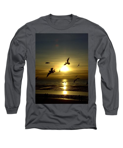 Birds Gathering At Sunset Long Sleeve T-Shirt