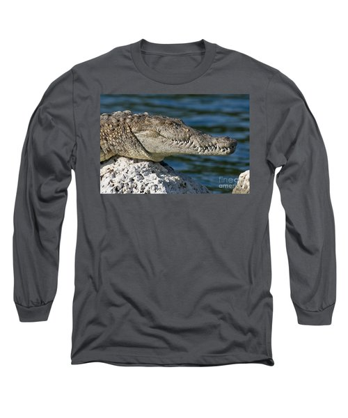 Long Sleeve T-Shirt featuring the photograph Biscayne National Park Florida American Crocodile by Paul Fearn