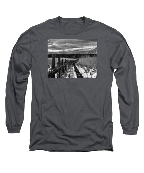 Long Sleeve T-Shirt featuring the photograph black and White Danger 2 bordway cover with slippery ice by Leif Sohlman