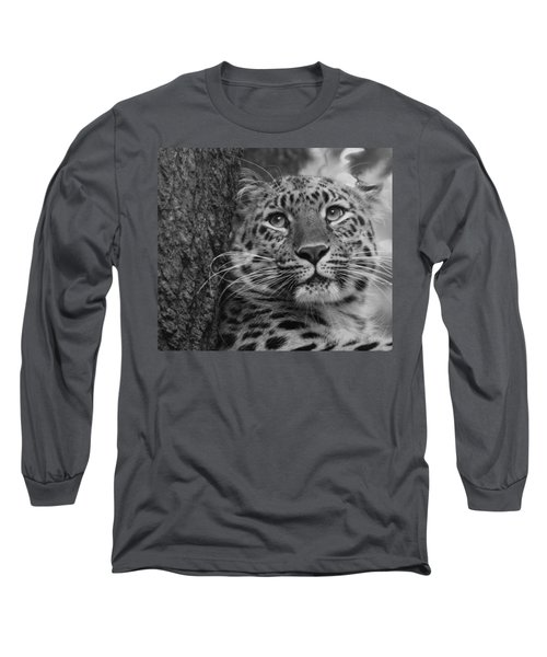 Black And White Amur Leopard Long Sleeve T-Shirt