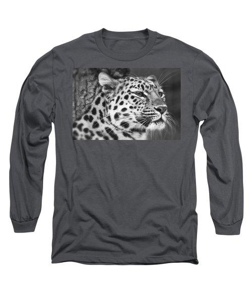 Black And White - Amur Leopard Portrait Long Sleeve T-Shirt