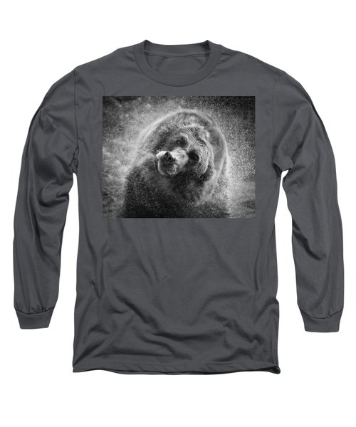 Black And White Grizzly Long Sleeve T-Shirt by Steve McKinzie