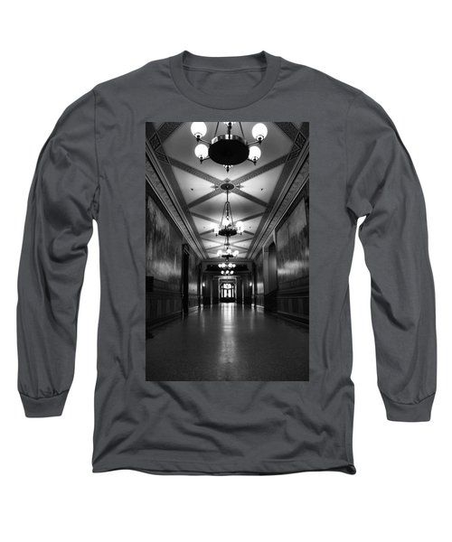 Black And White Hallway Notre Dame Long Sleeve T-Shirt