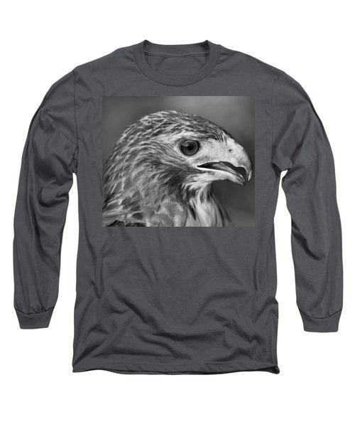 Black And White Hawk Portrait Long Sleeve T-Shirt