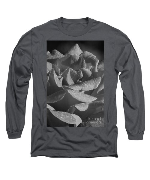 Black And White Morning Rose Long Sleeve T-Shirt