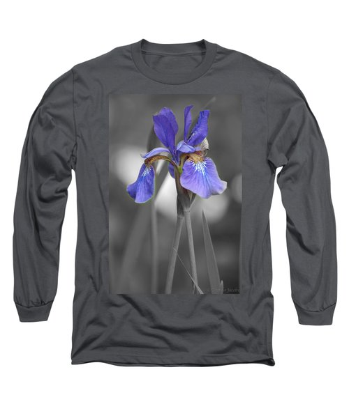 Long Sleeve T-Shirt featuring the photograph Black And White Purple Iris by Brenda Jacobs