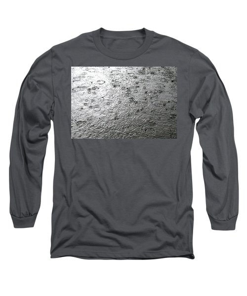 Black And White Rain Long Sleeve T-Shirt