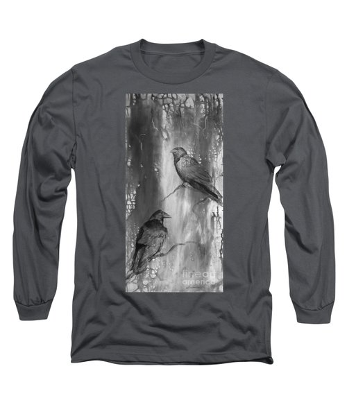 Black And White Ravens Long Sleeve T-Shirt by Laurianna Taylor
