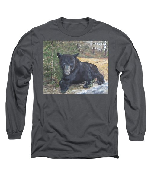 Long Sleeve T-Shirt featuring the painting Black Bear - Wildlife Art -scruffy by Jan Dappen